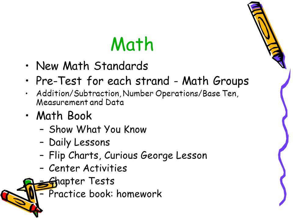 Math New Math Standards Pre-Test for each strand - Math Groups