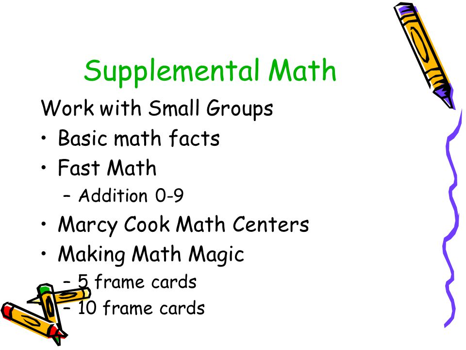 Supplemental Math Work with Small Groups Basic math facts Fast Math