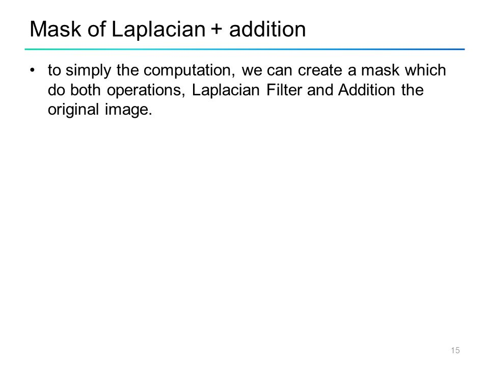 Mask of Laplacian + addition