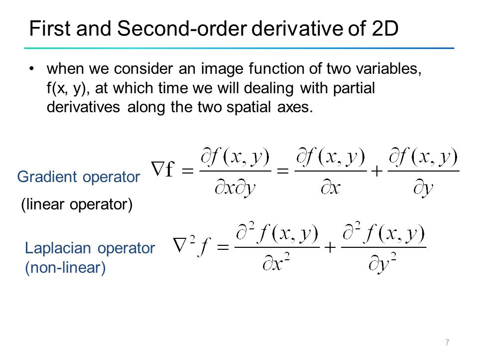 First and Second-order derivative of 2D