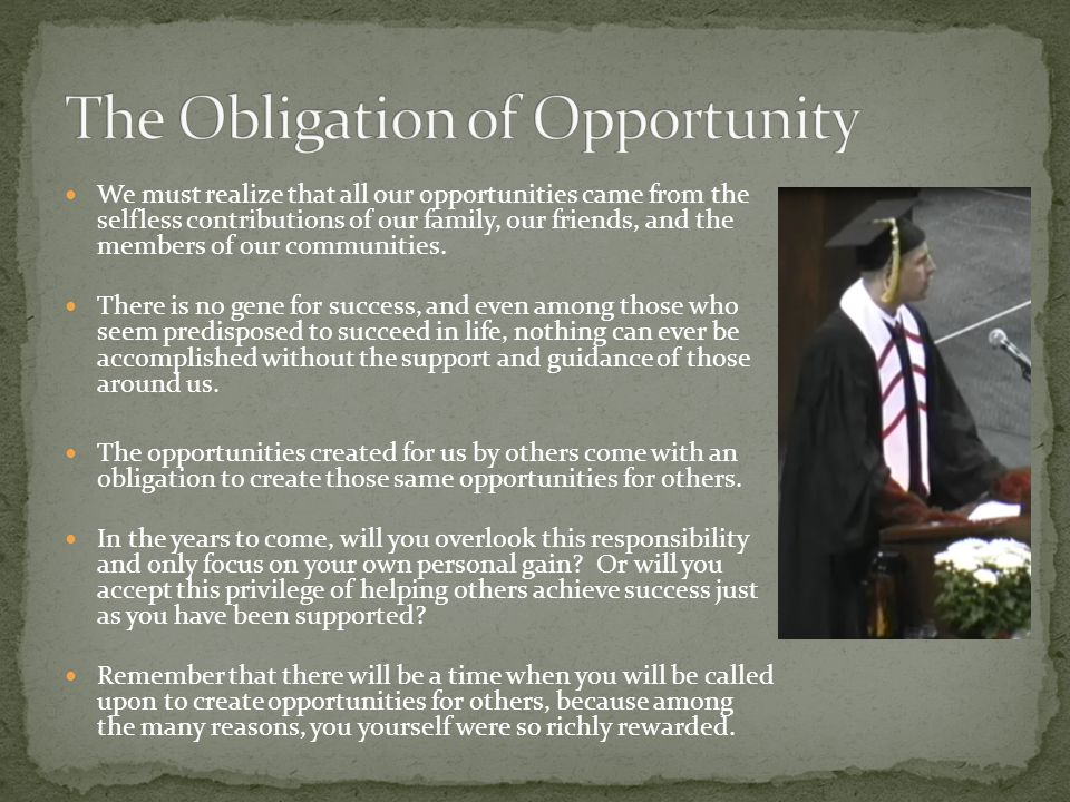 The Obligation of Opportunity