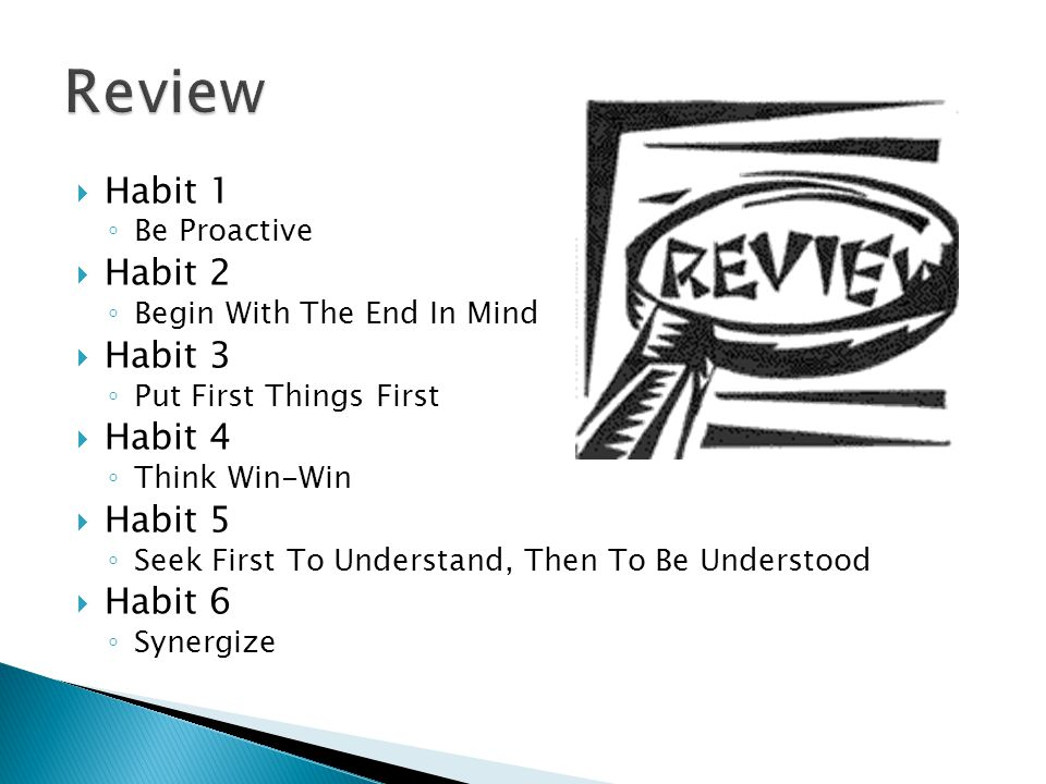 Review Habit 1 Habit 2 Habit 3 Habit 4 Habit 5 Habit 6 Be Proactive