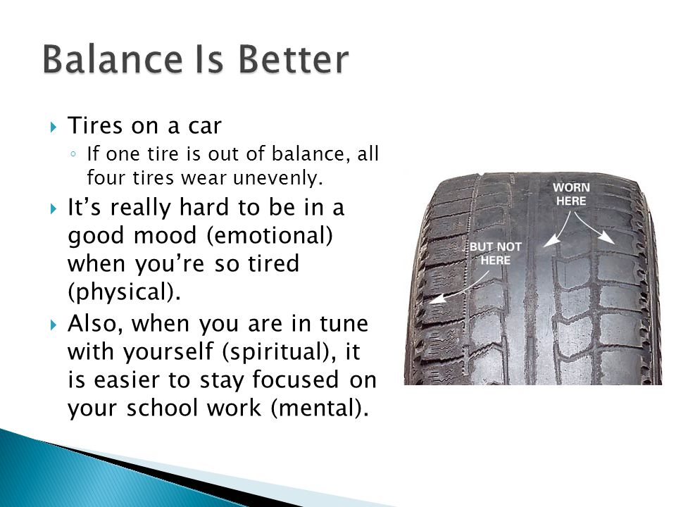 Balance Is Better Tires on a car
