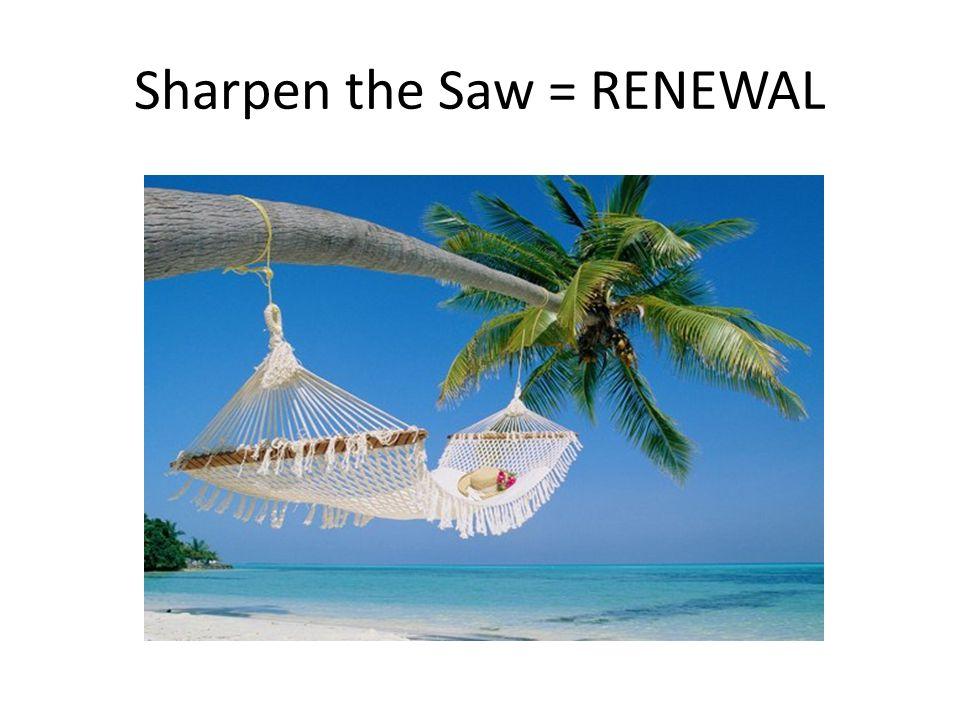 Sharpen the Saw = RENEWAL