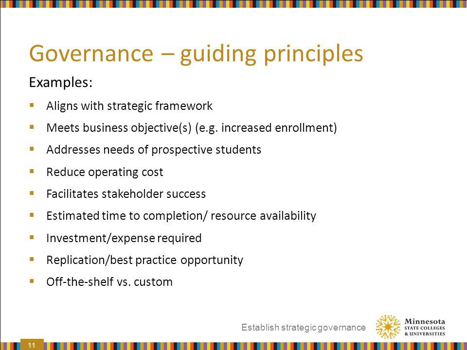 Governance – guiding principles