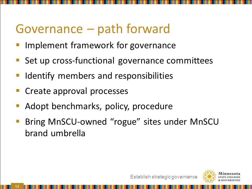 Governance – path forward