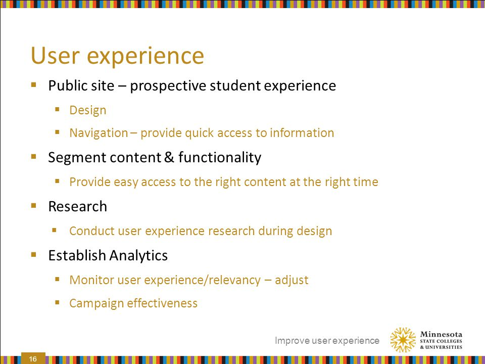 User experience Public site – prospective student experience