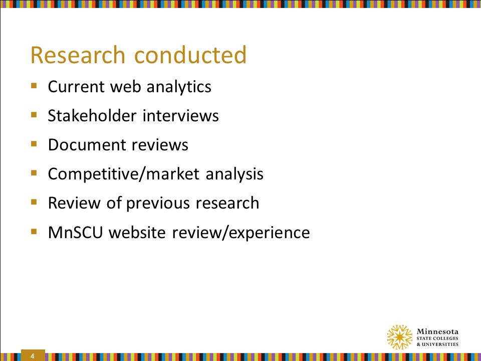 Research conducted Current web analytics Stakeholder interviews