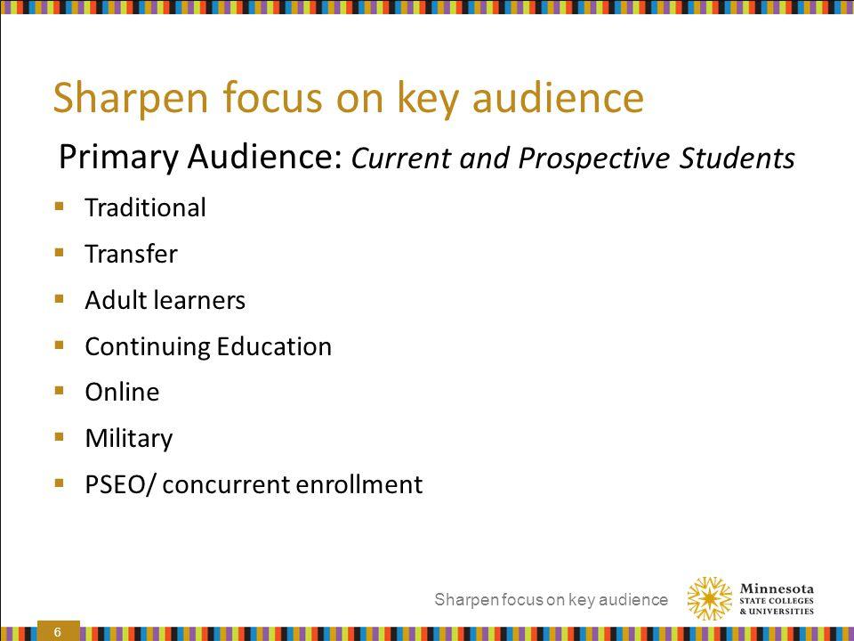Sharpen focus on key audience