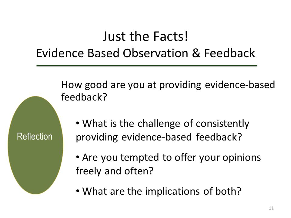 Sharpening Your Skills Using Evidence-Based Observation & Feedback