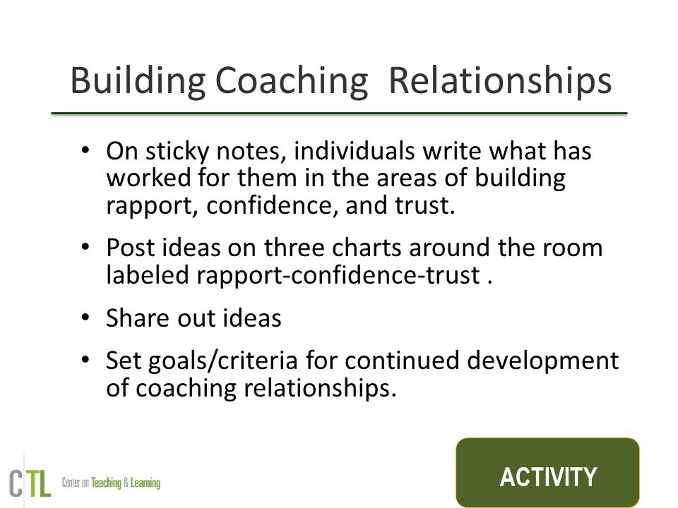 Building Coaching Relationships