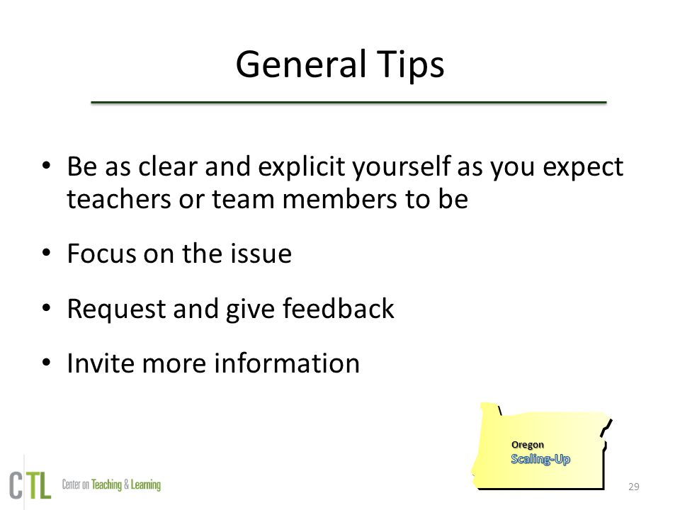General Tips Be as clear and explicit yourself as you expect teachers or team members to be. Focus on the issue.