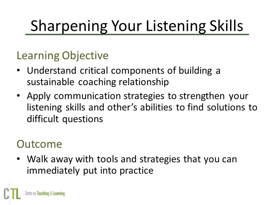Sharpening Your Listening Skills