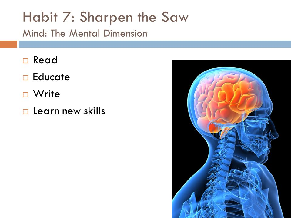 Habit 7: Sharpen the Saw Mind: The Mental Dimension