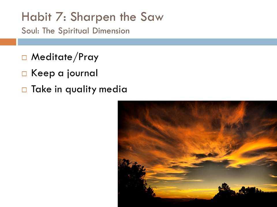 Habit 7: Sharpen the Saw Soul: The Spiritual Dimension