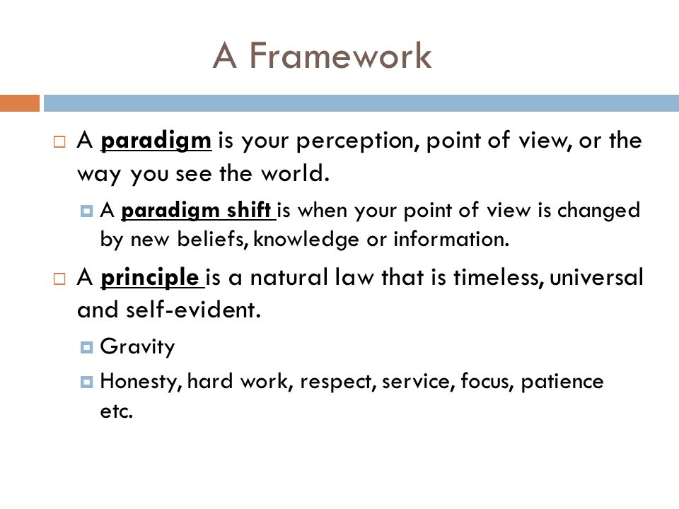 A Framework A paradigm is your perception, point of view, or the way you see the world.