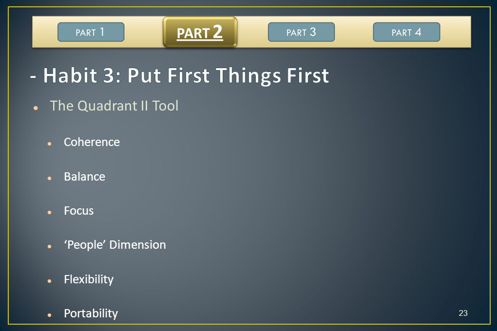 - Habit 3: Put First Things First