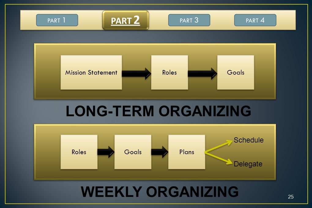 LONG-TERM ORGANIZING WEEKLY ORGANIZING