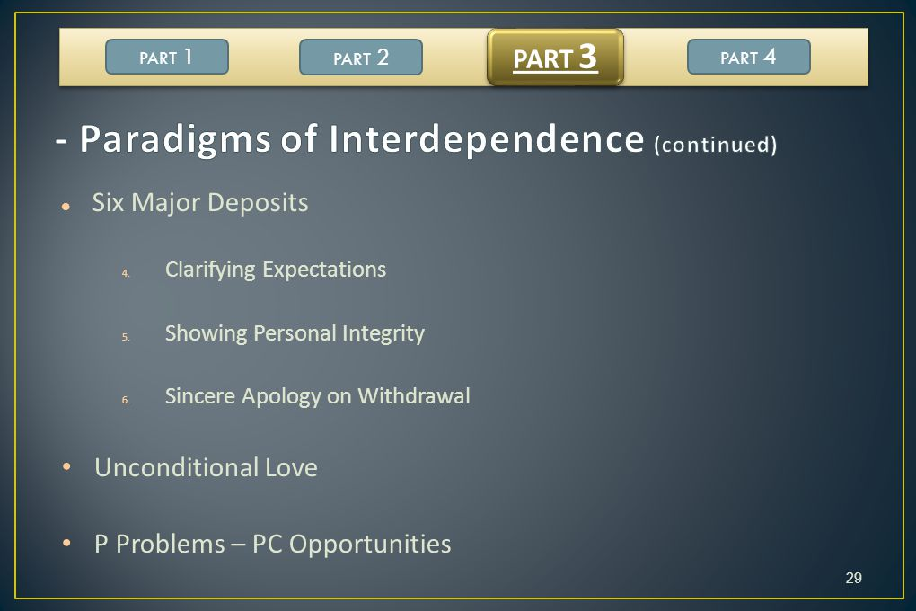 - Paradigms of Interdependence (continued)