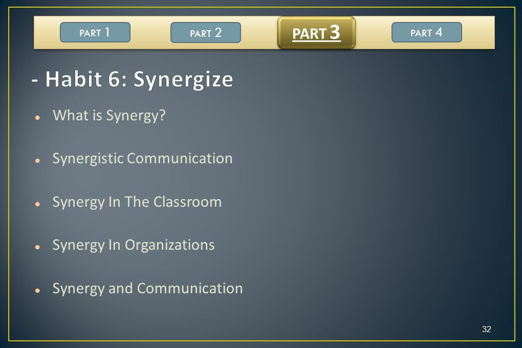 - Habit 6: Synergize PART 3 What is Synergy Synergistic Communication