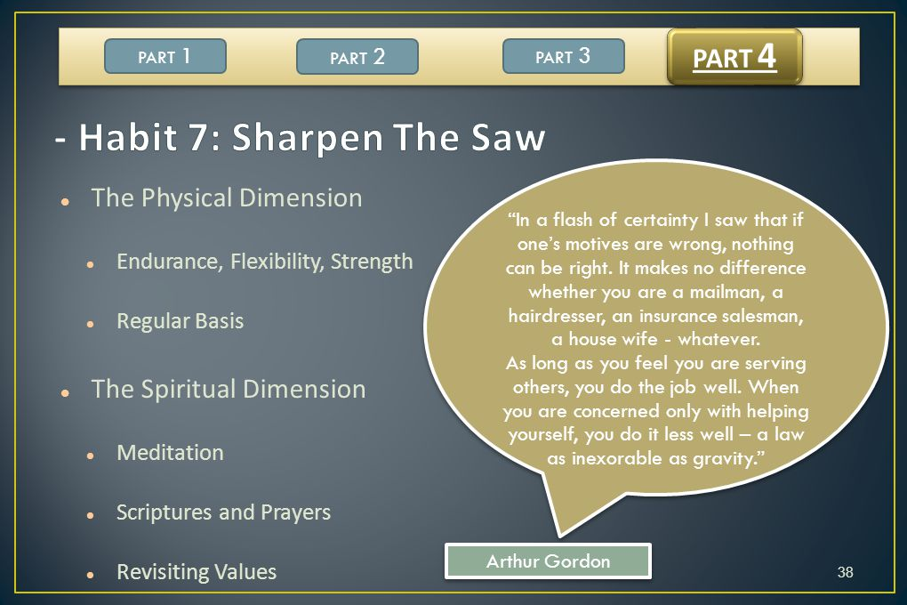 - Habit 7: Sharpen The Saw