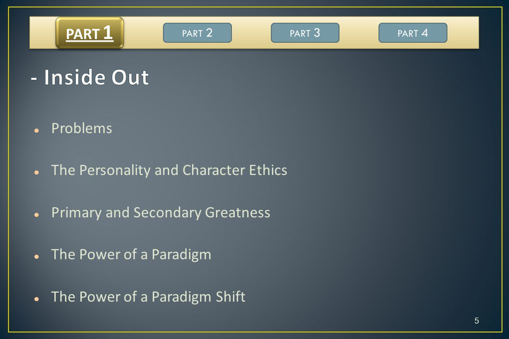 - Inside Out Problems The Personality and Character Ethics
