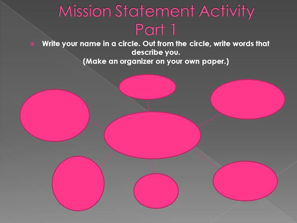 Mission Statement Activity Part 1
