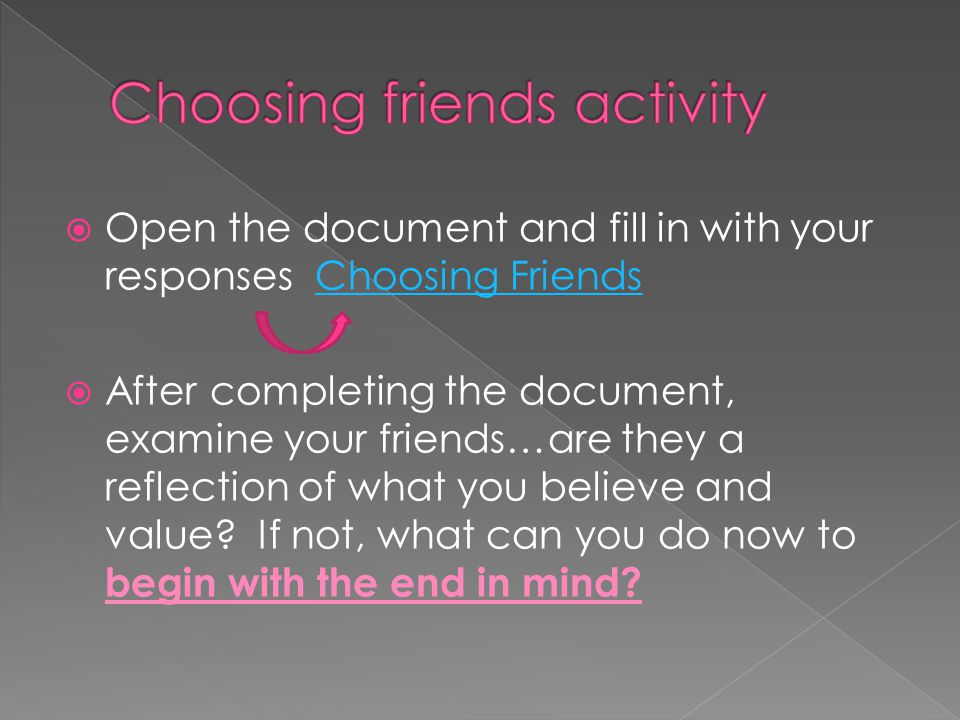 Choosing friends activity