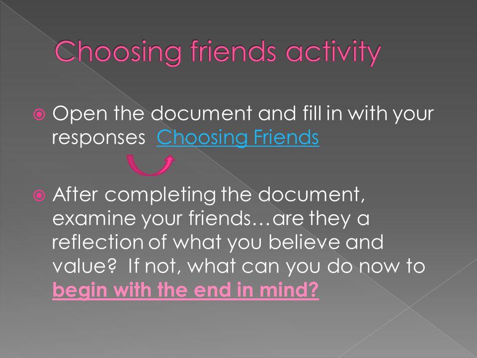Choosing friends activity
