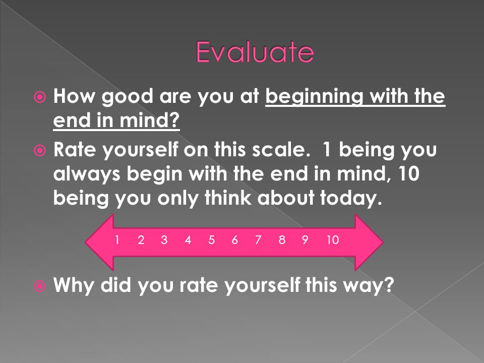 Evaluate How good are you at beginning with the end in mind