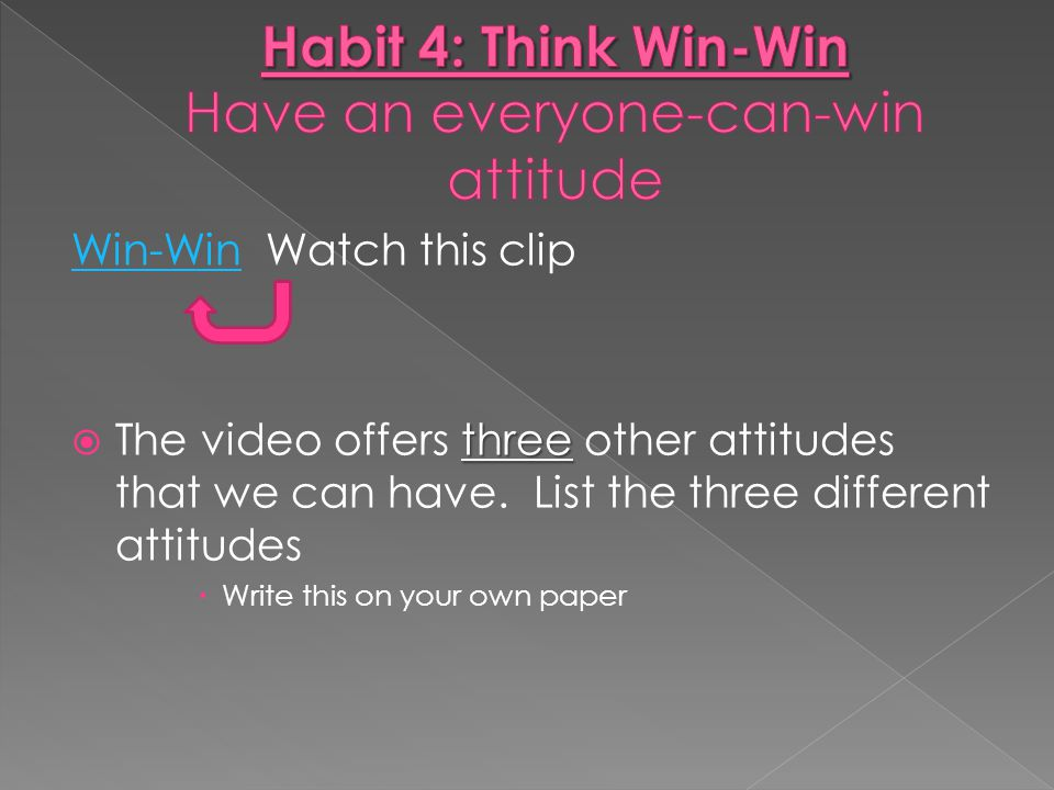 Habit 4: Think Win-Win Have an everyone-can-win attitude