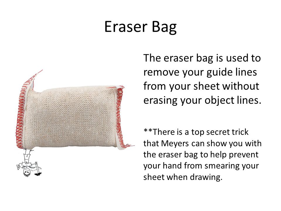 Eraser Bag The eraser bag is used to remove your guide lines from your sheet without erasing your object lines.