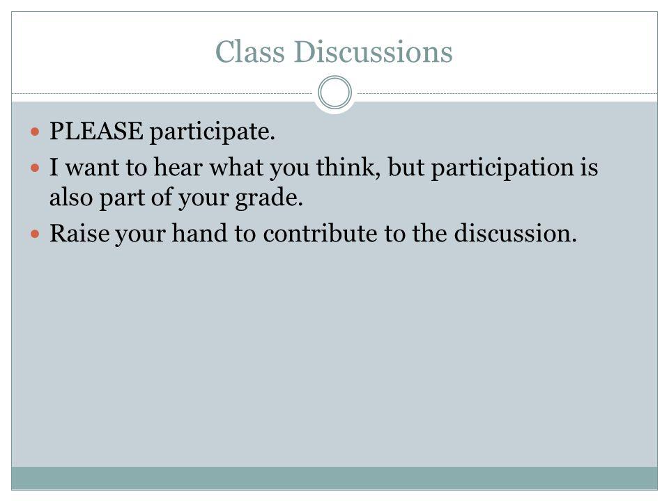 Class Discussions PLEASE participate.