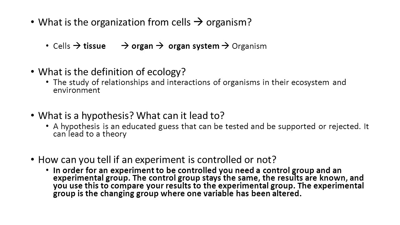What is the organization from cells  organism