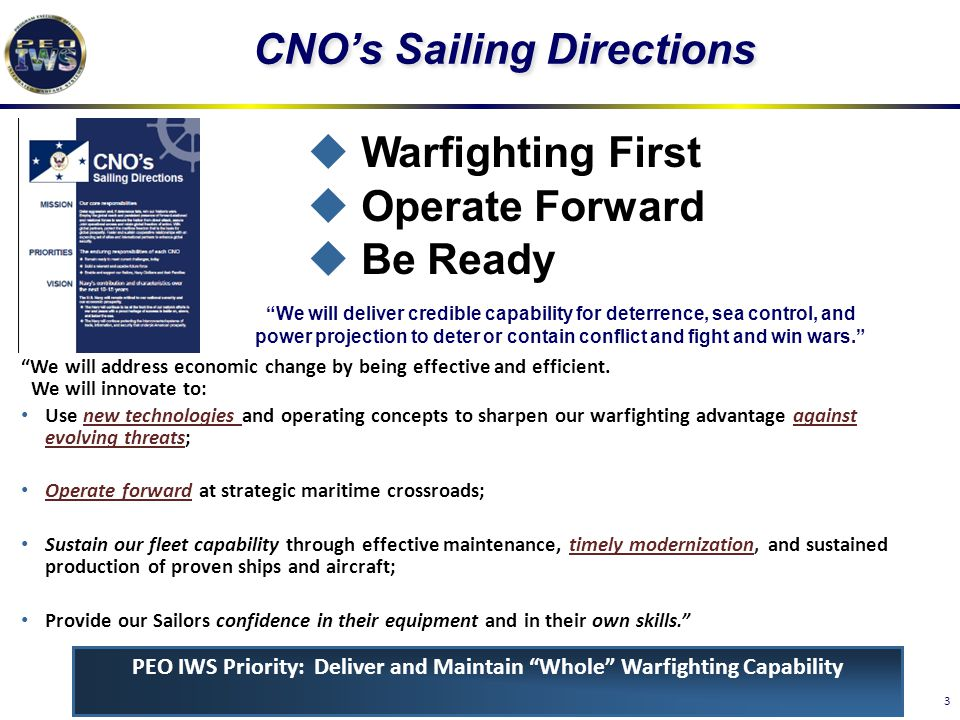 CNO's Sailing Directions