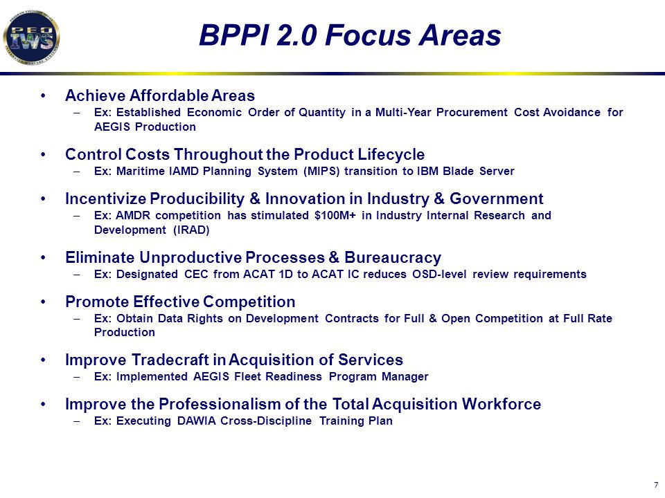 BPPI 2.0 Focus Areas Achieve Affordable Areas
