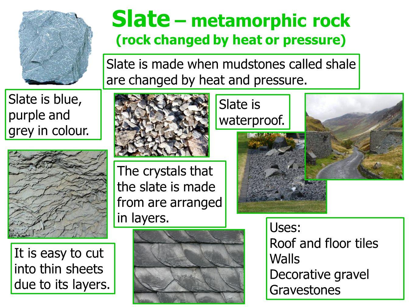 Slate – metamorphic rock (rock changed by heat or pressure)