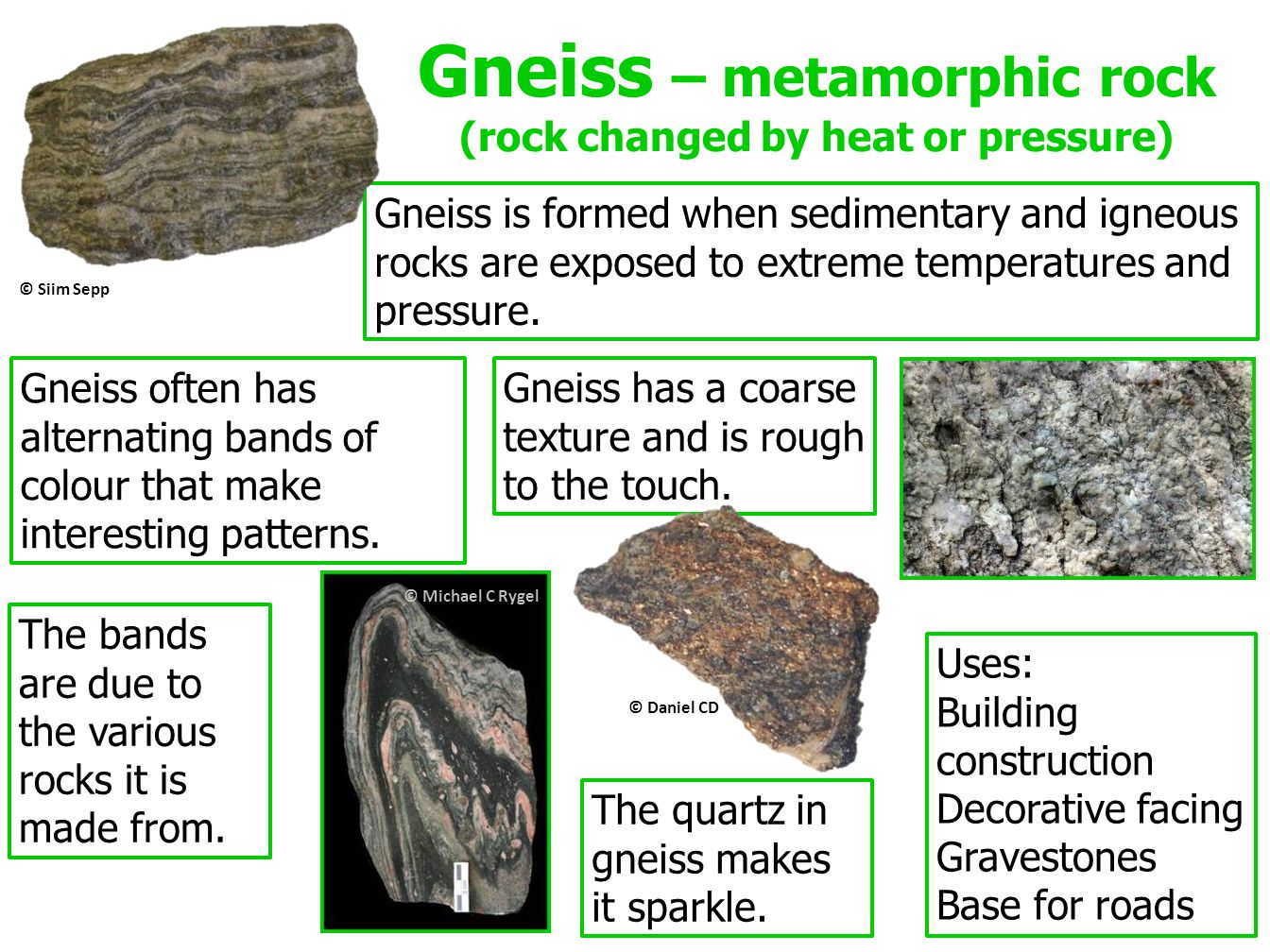 Gneiss – metamorphic rock (rock changed by heat or pressure)