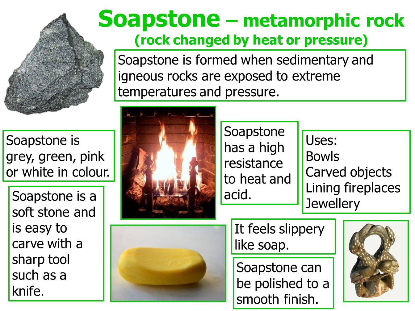 Soapstone – metamorphic rock (rock changed by heat or pressure)