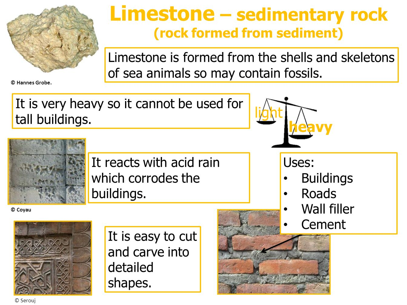 Limestone – sedimentary rock (rock formed from sediment)