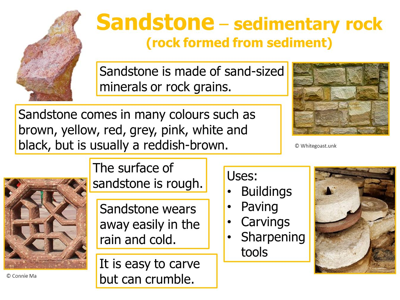 Sandstone – sedimentary rock (rock formed from sediment)