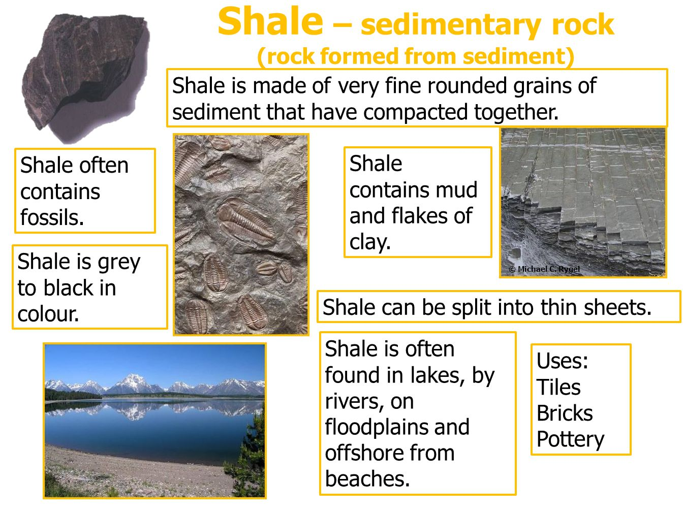 Shale – sedimentary rock (rock formed from sediment)