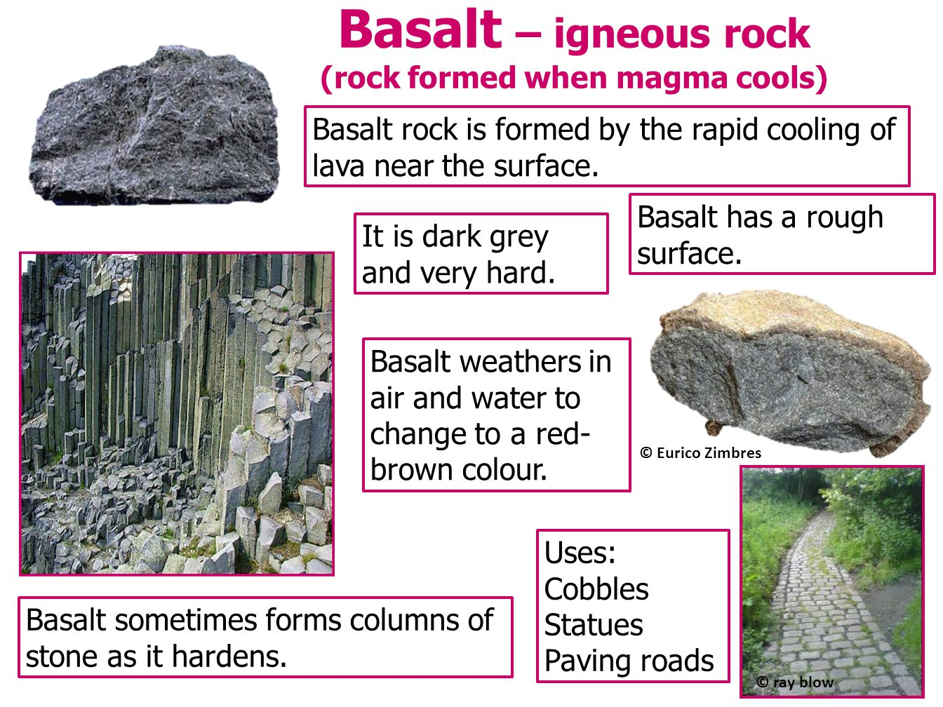 Basalt – igneous rock (rock formed when magma cools)