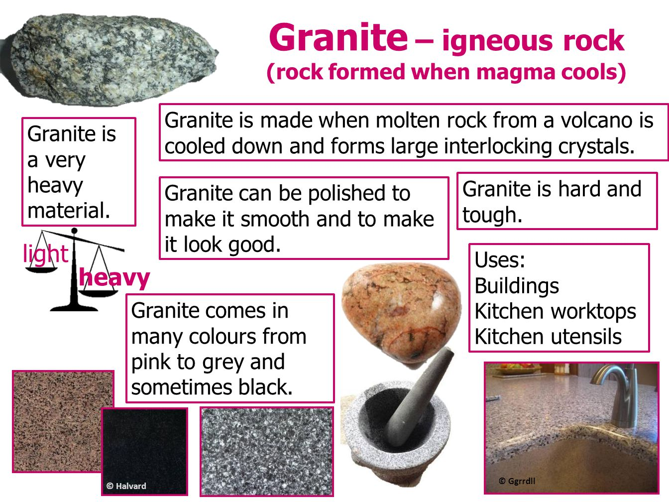 Granite – igneous rock (rock formed when magma cools)