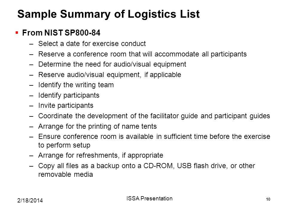 Sample Summary of Logistics List