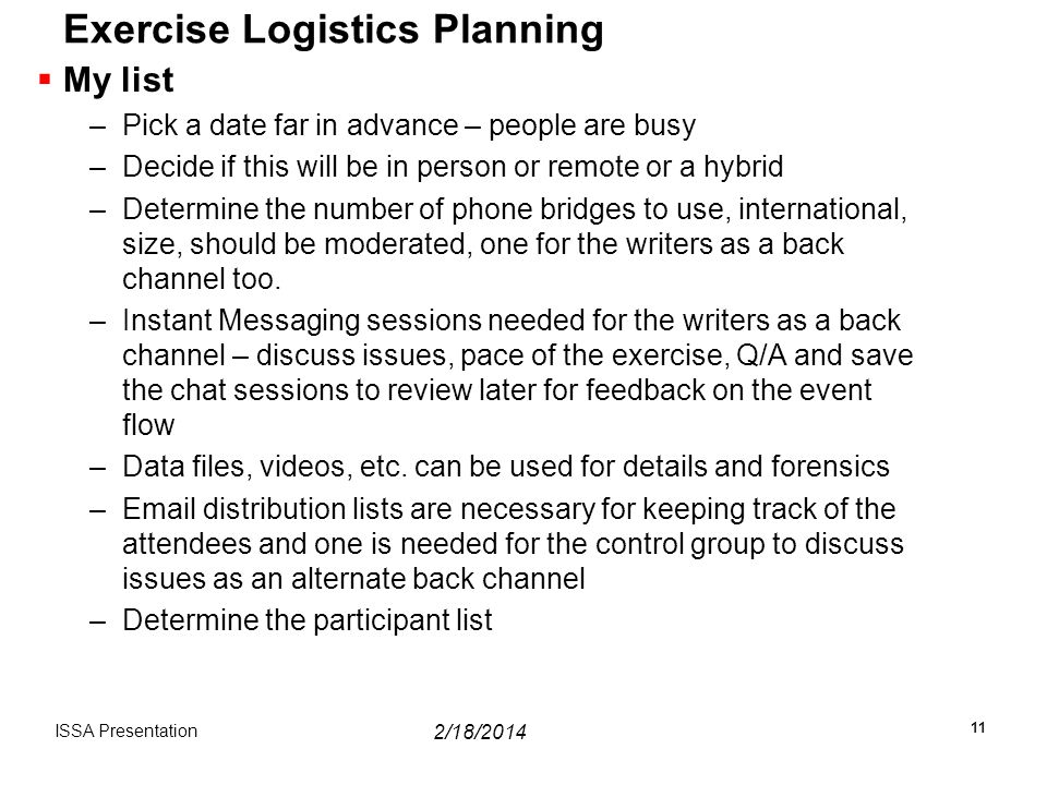 Exercise Logistics Planning