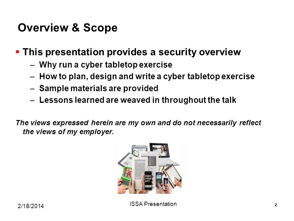 Overview & Scope This presentation provides a security overview