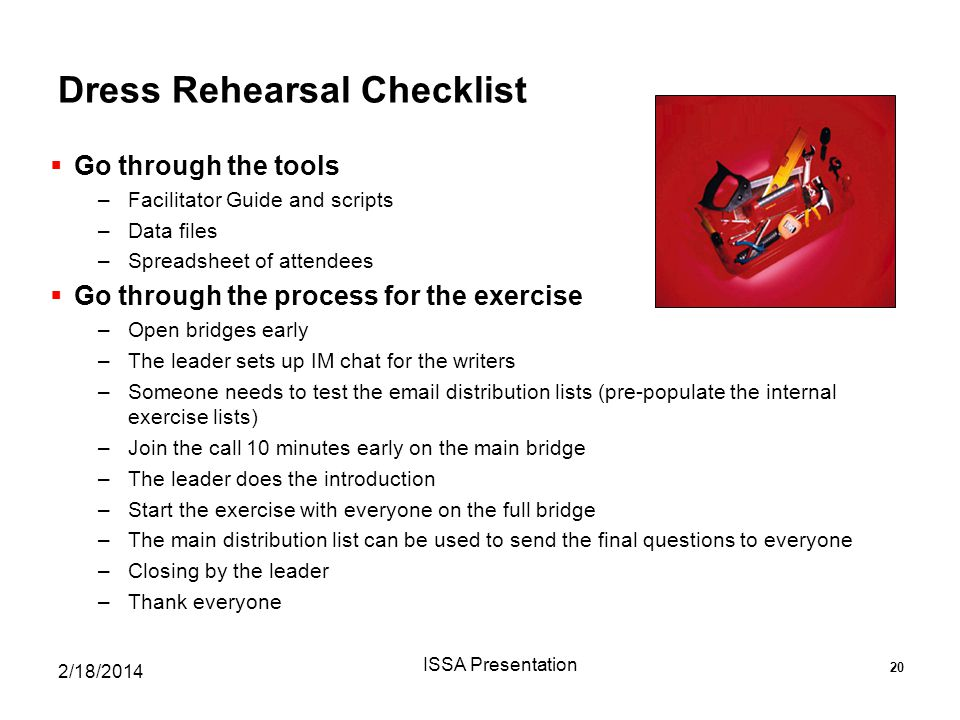 Dress Rehearsal Checklist