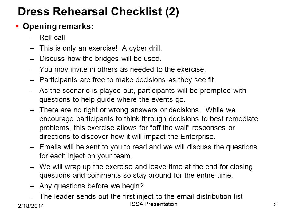 Dress Rehearsal Checklist (2)