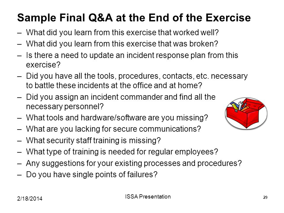 Sample Final Q&A at the End of the Exercise